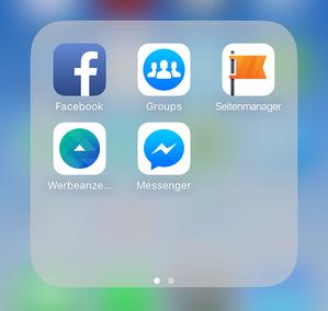 screenshot, der einzelne facebook-apps zeigt, darunter auch die gruppen-app