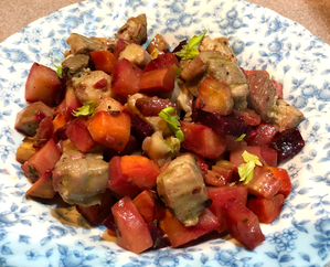 コロコロ根菜&ポークの温サラダ  root vegetables and pork warm salad