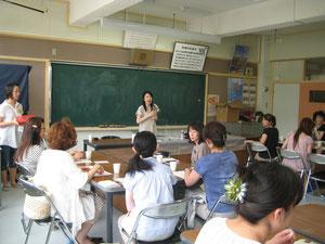 南月寒小学校で行われた数秘術と天然石のワークショップ