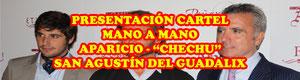 Presentación cartel mano a mano Aparicio Chechu en San Agustín del Guadalix con Ortega Cano