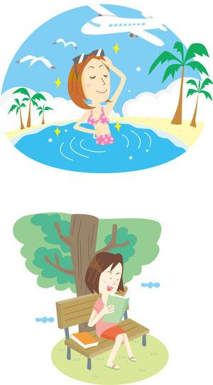 夏の旅行・読書イラスト