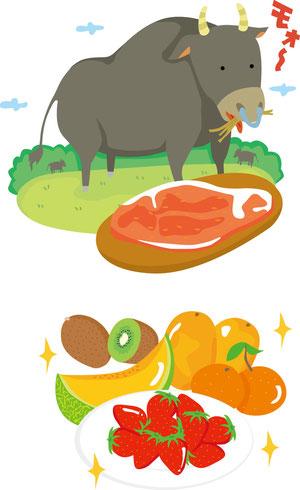 牛・フルーツイラスト