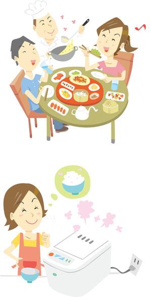 中華料理・炊飯器イラスト