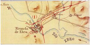 Detalle del croquis de las posiciones fortificadas entre Miranda y Vitoria (finales XIX)