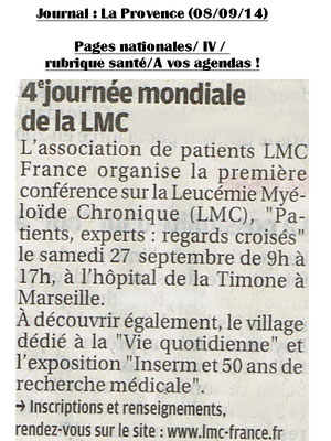 """ Patients - Experts : regards croisés "": Samedi 27 Sept 2014 - Conférence LMC France - Marseille - Timone"
