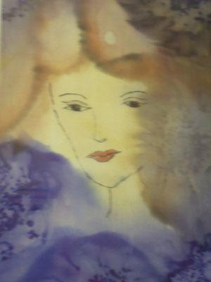 Seidenmalerei - Gesicht am Fenster