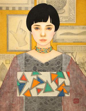 「静かな胸」 雲肌麻紙に岩絵具、水干絵具、墨、顔彩 P10