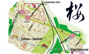 Plan Mauerweg/Kirschblütenallee Teltow; zum Vergrößern Bild anklicken