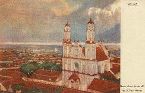 Atvirlaiškis. Akvarelė.  A. Paulius Vėberis 1917m. / Postkarte 22.IV.1917. Verlag von Fritz Wurtz. Berlin-Steglitz. Von A. Paul Weber