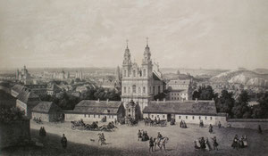 Isidore Laurent Deroy, Viktor Vincent Adam. Viešpaties Dangun Žengimo bažnyčia. 1850. Popierius, tonuota litografija, LDM / Church of the Assumption and the missionarie's monastery. 1850. Paper, toned litography.