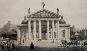 Isidore Laurent Deroy pagal Vasilijų Sadovniką. Vilniaus katedra. 1847. Popierius, tonuota litografija / According to Vasilij Sadovnikov. The Vilnius cathedral. 1847. Paper, toned litography.