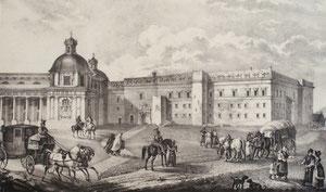 Karolis Račinskis. Vilniaus Žemutinės pilies rūmai. 1832. Popierius, litografija, LDM / Vilnius lower castle palace. 1832. Paper, litography.