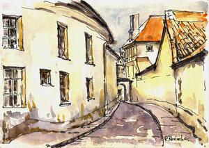 Autorius Rimas Revinskas.  Vilniaus senamiesčio skersgatvis. Akvarelė 15x21cm./ An alley-way in Vilnius old town. Paper, watercolour
