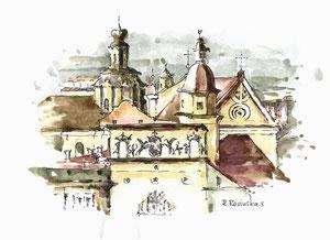 """Autorius Rimas Revinskas. """"Miestas"""". Akvarelė 18x24cm./ """"City"""". Paper, watercolor"""