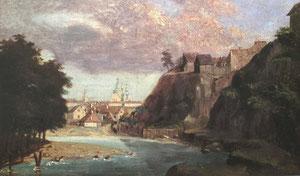 Kanutas Ruseckas. Vilniaus vaizdas nuo Paplaujos priemesčio. 1858. Medis, aliejus, LDM / View of Vilnius from Paplauja suburb. 1858. Wood, oil.