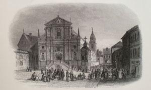 Jean Jaque Outhwaite. Aušros Vartų gatvė Vilniuje. 1862. Popierius, plieno raižinys, LDM / The gate of dawn street Vilnius. 1862. Paper, steel tracery.