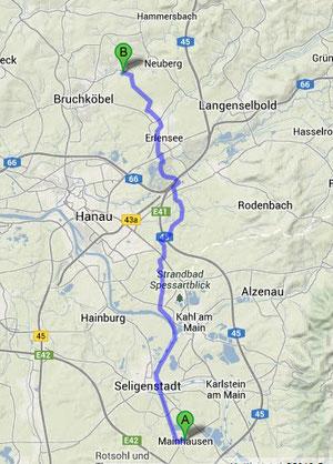 Mainhausen-Oberissigheim ca. 25km