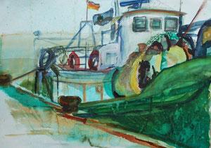 Rotes Schiff   Hafen Sassnitz  80 mal 60 cm  560 Euro