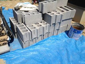 コンクリートブロック養生の様子