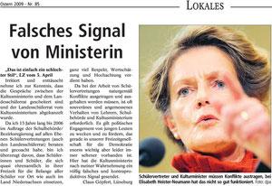 """Leserbrief """"falsches Signal von Ministerin"""""""