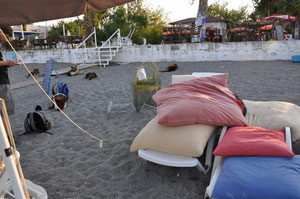Nest in beach section of Calis with dense sunbed and umbrella rows. We have put several cages around the nest to protect it from the 4 dogs that this restaurant owner keeps on the beach