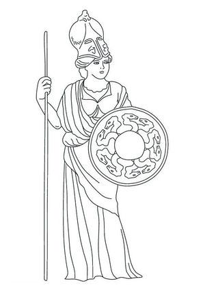 Atenea (Minerva para los romanos), diosa griega de la sabiduría, el arte, la guerra y la defensa estratégica