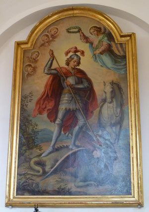 Heiliger Georg ( als Drachentöter) in der Kirche von Leipertitz