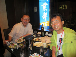 植田勇二氏とJR仙台駅近くの郷土料理の店「牡鹿半島」で食事