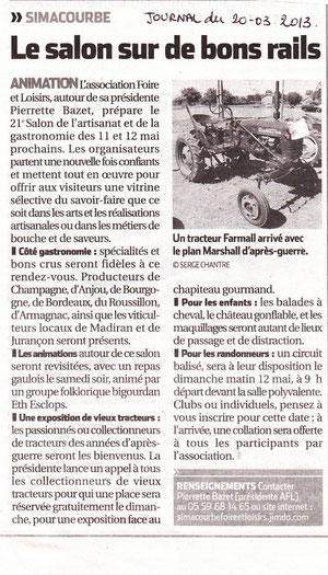 Journal La République du 20 mars 2013
