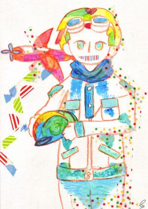 ぼくが旅立つそのときに/アルビレオ紙 色鉛筆 アクリル マスキングテープ 2011,9.12