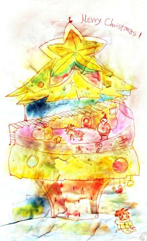 ツリー/半紙 ピグマグラフィック 透明水彩 2011,12.24