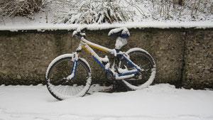 Ein Winterrad, erkältet, mit Halstuch