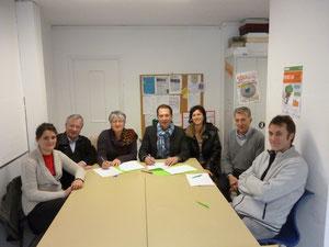 De gauche à droite : Astrid Roché, André Da Rocha, Véronique Combalbert, Philippe Etcheverria, Nathalie Cabanne, Jacques Duran, Jean Massoué