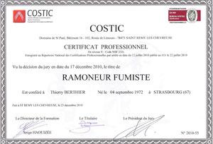 Certificat professionnel de ramoneur fumiste - Thierry Berthier - Blois - 41 - Région Centre-Val de Loire