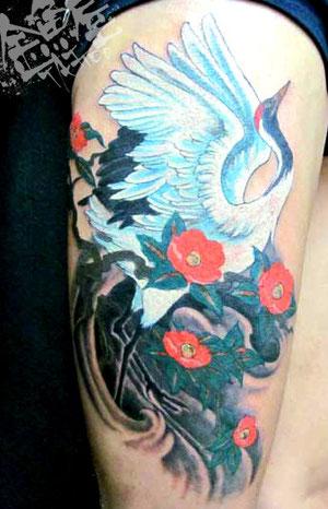 椿 タンチョウ ツル カラー タトゥー