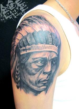 インディアン ネイティブアメリカン リアル ポートレート タトゥー