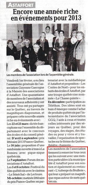 Repas association Guyenne Gascogne