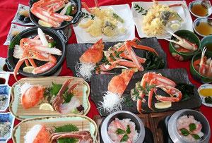 活蟹コース料理一例