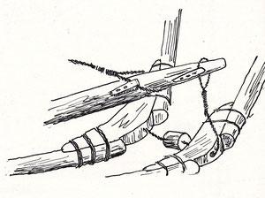 Détail de fixation et d'articulation des perches du carrelet dessin Jean Le bot dans « Bateaux des côtes de Bretagne nord »