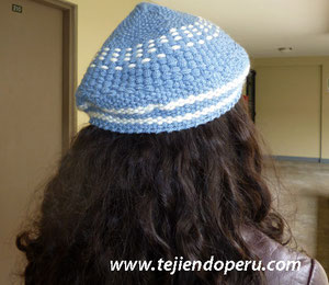 boina en telar redondo - round loom  beret