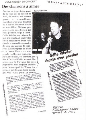 Article presse chansons Odile Wieder