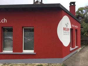 Ansicht Rückseite der Werkstatt Meury Sanitär