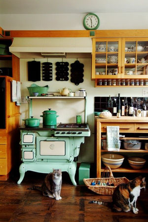 Antique turquoise cooker