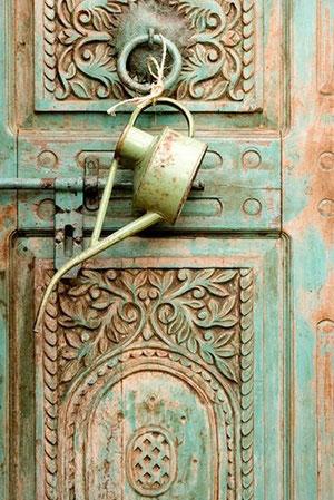 Antique turquoise door