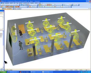 Ansicht mit Isolinien und 3D Darstellung der Lichtverteilung