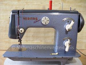 Veritas, Modell 8014/2, Zickzack-Haushaltsnähmaschine, Flachbett, Fußantrieb, Vorrichtung für Motoranbau vorhanden, Hersteller: VEB Nähmaschinenwerk Wittenberge (Bilder: I. Naumann)
