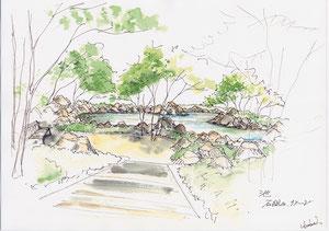 小さな池と石組みイメージ