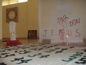 installation pardon jesus...galerie art contemporain yaoundé,2013