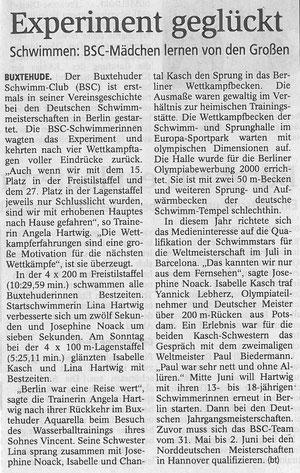 Experiment geglückt. Schwimmen: BSC-Mädchen lernen von den Großen. Buxtehuder Tageblatt vom 30.04.2013