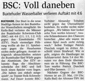 BSC: Voll daneben. Buxtehuder Wasserballer verlieren Auftakt mit 4:6. Buxtehuder Tageblatt vom 21.05.2013